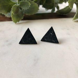 Jewelry - Black Marble Stud Triangle Earrings
